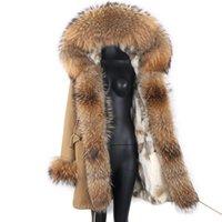Women's Fur & Faux 2021 Fashion Women Parka Real Liner Hood Long Coat Army Green Large Raccoon Collar Winter Warm Jacket Outwear