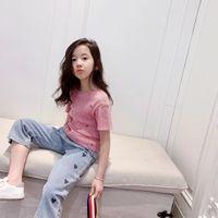 Heiße Sommerkinder T-Shirt mit Denim-Hosen 2021 Mode Kinder Mädchen Rosa T-Shirt Kleinkind Mädchen Hosen Jeans
