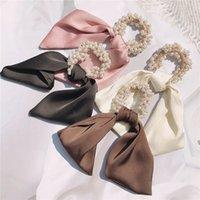2021 новый французский стиль шелковый шарф ленты имитация жемчужина резиновая полоса волосы веревка сладкая девушка женщины мода подобные волосы аксессуары 1637 b3
