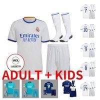 성인 키트 키트 20 22 22 레알 마드리드 축구 유니폼 위험 Sergio Ramos 벤즈마 Camiseta de Futbol 2021 2022 Vinicius JR 축구 셔츠 유니폼