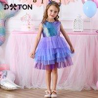 Dtton Sommer Kinder Kleider für Mädchen Sleeveless Party Prinzessin Kleid Kleinkind Geburtstag Mädchen Vestidos Kinder Tutu Kleid Kleidung 210303