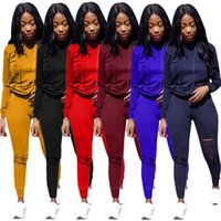 Fall Winter Clothes Women Jogging Suits Plus size 3XL Tracksuits Ripped Outfits Long Sleeve hooded Hoodie+pants Two Piece Set Casual black Sportswear 5628