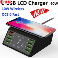 Hızlı Şarj Çoklu 8 Port LCD USB Qi Kablosuz Şarj IPhone X 8 Artı 60 W Hızlı 3.0 Hızlı Şarj Samsung S10 S9 Xiaomi Mi 9 için