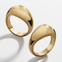 Wedding Rings 2021 Simple Glossy Gold Color Chunky For Women Men Trendy Thick Circle Stackable Geometric Punk Party Jewelry