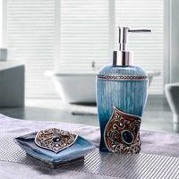 Set de baño Set de baño de dos piezas creativo europeo europeo desinfectante botella jabón caja de jabón accesorios de baño decoración suave