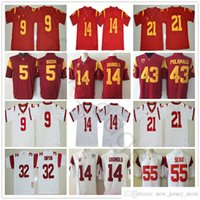 NCAA USC Trojans 14 Sam Darnold Reggie Bush Juju Smith-Schuster Adoree 'Jackson Troy Polamalu OJ Simpson Junior Seau College Football Jersey