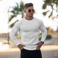 Muscleguys outono moda fina suéteres homens manga longa pulôveres homem o-pescoço sólido slim encaixe confecção de tricô tops puxar homme