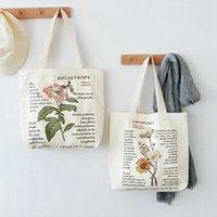 Koreanische stil leinwand umhängetasche drucken muster einkauf träger mädchen wiederverwendbare lebensmittelwaren totes organisation lagerung handtasche s8ld