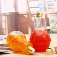 Neue LED Glühbirne Wasser Flasche Kunststoff Milchsaft Wasser Flasche Einweg Leckfestes Getränk Tasse mit Deckel Kreative Getränke Großhandel 416 V2