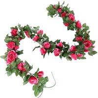 Flores decorativas guirnaldas 2m vid artificiales wisteria plantas falsas vegetal ratán decoración de boda flor colgando decoración de pared