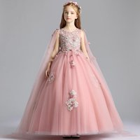 Girl's Dresses Ball Gown V-Neck Sleeveless Fashion Pleat Floor-Length Embroidery Kids Party Communion Girl For Weddings DH155