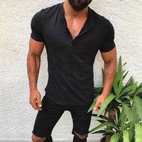 2021 New Nova Chegada com dekotieren em v cor Slida Manga Curta T Camisa Ajuste Fino Camiseta Masculina Magro Casual Vero Tshirt Streetwear F1Y5