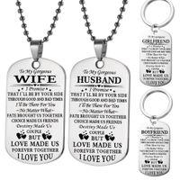 Anello ad anello in acciaio inox a mio marito moglie collana militare coppia in acciaio inox anelli da uomo