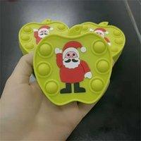 Halloween Christmas Santa Apple Shape Mini Wallet Push Pop Kids Cartoon Small Zipper Poppers Bubbles Handbags Fashion Boys Grils Coin Case Gifts G95SIO5