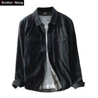 Brother Wang бренд весна Новый мужской случайные черные джинсовые рубашки 100 хлопка мода тонкий рукав рубашки мужская одежда 210305