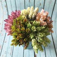 30 têtes / paquet pomme de pin simulation d'ananas herbe plantes artificielles bricolage maison Vases pour la décoration fausse fleur de plastique pompon