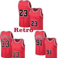 레트로 23 마이클 저지 Scottie 33 Pippen Jersey Dennis 91 Rodman 농구 유니폼 망 레트로 메쉬