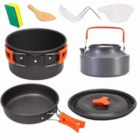 Eco-friendly Camping Cookware Set Portable Spring Outing Dinnerware Kettle Frying Pan Soup Spoon Bowl Sets Travel Supplies GWF11040