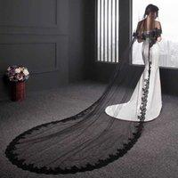Мода черные кружева свадебная вуаль 2020 два слоя 300 * 150см аппликации собор длинной свадебной вуалью с гребня Voile de mariee x0726