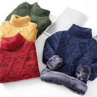 KEAIYOUHUO Winter Boy Kids Thick Knitted Bottoming Shirts Solid High Collar Pullover Sweater Baby Boys Sport Clothes 2 to 10 Y 210914