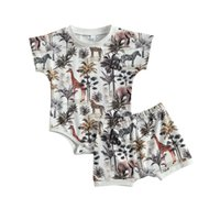 Clothing Sets Baby & Children's Kids 2-piece Outfit Set Short Sleeve Animal Print Romper+Shorts For Children Boys Girls
