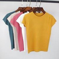Bygouby Summer Tricoté Femmes T-shirt T-shirt Haute Élasticité O-Col À Manches courtes T-shirt Tee Shirt Respirant Femme Tshirt 210310