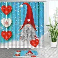 Shower Curtains Santa Claus Bathroom Bath Mats Set Blue Wood Grain Backdrop Christmas Decor Flannel Rug Non-slip Carpet Door Mat