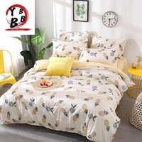 Bedding Sets Fruit Pineapple Set Quilt Cover Queen Full King Size Children Cartoon Duvet Yellow And White Bedclothes 4pcs