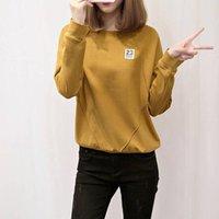 Women's Hoodies & Sweatshirts MISSKY Women Sweatshirt Long Sleeves Blouse Polyester Round Neck Woman Pullover Casual Top Base Shirt Female C