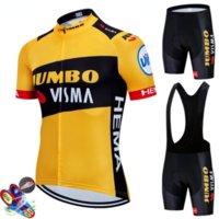 새로운 점보 Visma 사이클링 팀 저지 19D 자전거 반바지 슈트 Ropa Ciclismo Mens 여름 프로 자전거 Maillot 바지 의류