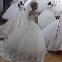 Vintage Wedding Dresses Off Shoulder Lace Applique Tulle Bridal Gowns Long A Line Vestidos De Novia