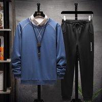 Мужские спортивные трексуиты варисанол толстовки наборы две части трексуита мужская одежда o шеи длинные футболки и брюки зимние повседневные негабаритные дому