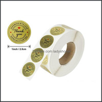 Tapes Supplies Office School Business & Industrial4 Styles 1 Inch Gold Round Thank You Adhesive Label Sticker Envelope Seal Stickers Baked P