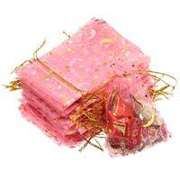 Ювелирные мешки, сумки 100 шт. / Набор 9x12см Лунная звезда Органза Рождественская емкости Упаковка свадьба Подарочная пакета
