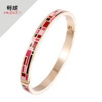Smooth open Bracelet Enamel Gold Plated Jewelry Cloisonne national jewelry metal braceletPRLH