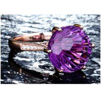 Cluster Rings Natural Amethyst Gemstone For Women Rose Gold 925 Silver Color Diamond Ring Purple Fine Jewelry Finger