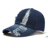 Party Hats Men's spring summer European and American fashion hole baseball cap denim caps ladies outdoor sun hat DWF7416