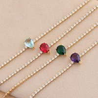 Chokers Fashion Full Chain Inlaid Rainbow Zircon Drop-shaped Pendant Simple Personality Choker Necklace For Women Sweet Temperament