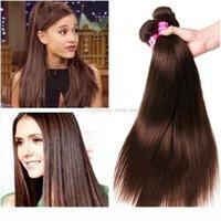 저렴한 3PC 브라질 스트레이트 웨이브 버진 밥 다크 브라운 인간의 머리카락 확장 머리카락 8A 밝은 갈색 인간의 머리카락 짜다 번들 100g