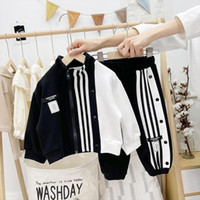 Boys Jogging Clothes Set Spring Autumn Children Striped Coat Pants 2pcs Unisex Tracksuits For Baby Kids Casual Sports Suit 2