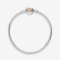 New Classic Gold and 925 Silver Charm Bracelets Fit Pandora Beads Snake Chain Top Quality Cubic Zircon Pave Clasp Lady Gift With Original Box