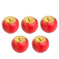 5 قطع هدية عيد الميلاد شموع الفاكهة الاصطناعي محاكاة التفاح شكل الشموع مع مربع لحضور حفل زفاف decoartion - الحجم