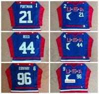 Mighty Ducks D2 Filme Equipe EUA Hóquei Jerseys 21 Dean Portman 44 Fulton Reed 96 Charlie Conway Jersey Camisa Azul Costurado