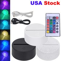 Acrylic 3D LED Lamp Base Table Night Light Base LED 7 Color-Adjust USB Remote Control Lighting Accessories