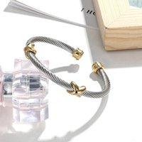 Femmes Bangles de mode Mode Bijoux en acier inoxydable Câble torsadé Bracelets Vendre Cuff ouvert Antique