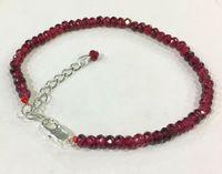 Nouveau bracelet en pierre de pierre de joyau de rubis de rubis rouge de 2x4mm 2x4mm 7.5 925 Fermoir argenté