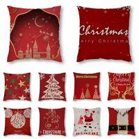 Cushion Decorative Pillow Christmas Theme Cartoon Elegant Home Decorative Cotton Linen Throw Case Living Room Sofa Square Cushion Cover 45x4