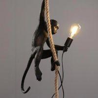 Reçine Altın Siyah Beyaz Maymun Duvar Işıkları Hayvan Masa Aydınlatma Çatı Kenevir Halat Kolye Lamba Armatürler Bar Cafe E27 Işık Armatürleri içerir