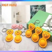 Keychain Push Its Pops Bubble Fidget Decompression Toy Key Chain Board Simple Dimple Squishy Anti Stress Reliever For Adult Kids Popper Fidgets Toys