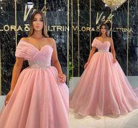 Glitter Elegant Pink Evening Dresses 2021 One Shoulder A-Line Shiny Sequined Prom Dress Dubai Arabia Formal Ball Gown Pleats Princess Vestidos de Feista AL9547